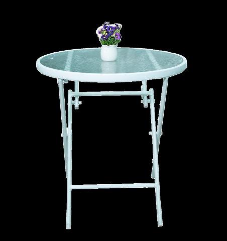 שולחן עגול ממתכת בשילוב זכוכית מתקפל